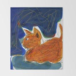 Socca Ginger Cat Art Throw Blanket