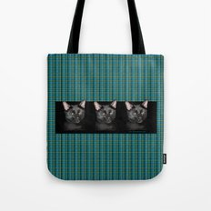 Three black Cats on Plaid Background Tote Bag