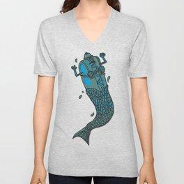 Hot Dog Mermaid! Unisex V-Neck