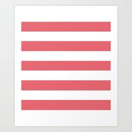Light carmine pink - solid color - white stripes pattern Art Print