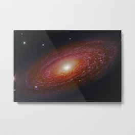 Spiral Galaxy NGC 2841 & Nearby Stars Deep Space Telescopic Photograph Metal Print