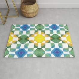 Circular Logic / water color geometric pattern / quilted look Rug