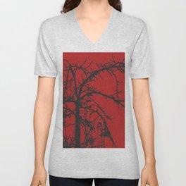 Creepy tree silhouette, black on red Unisex V-Neck