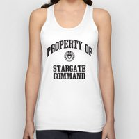 stargate Tank Tops featuring Property of Stargate Command Athletic Wear Black ink by RockatemanDesigns