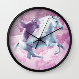 Epic Space Sloth Riding On Unicorn Wall Clock