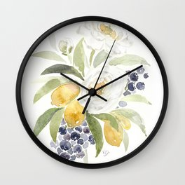 Watercolor Flowers with Blueberries Wall Clock