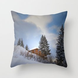 Chalet mountain cloud Throw Pillow