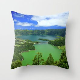 Lakes in Azores islands Throw Pillow