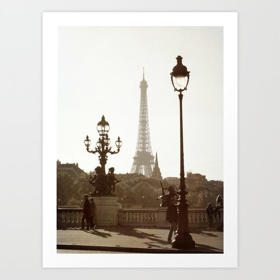 Eiffel Tower and lamp posts Art Print