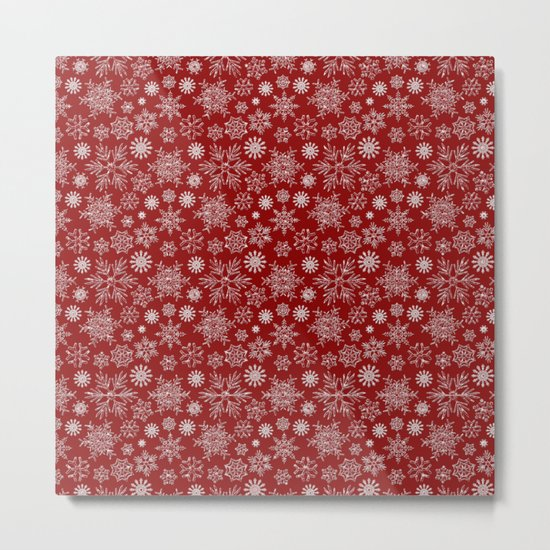 Merry Christmas- Abstract christmas snow star pattern on festive red Metal Print
