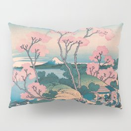 Spring Picnic under Cherry Tree Flowers, with Mount Fuji background Pillow Sham