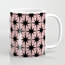Atomic Age 1950s Retro Starburst Pattern in Black and 50s Dusty Blush Pink Coffee Mug