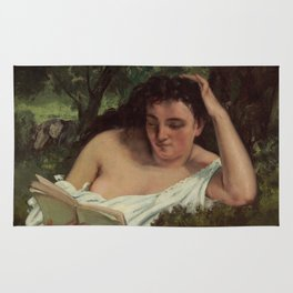 Gustave Courbet - A Young Woman Reading Rug