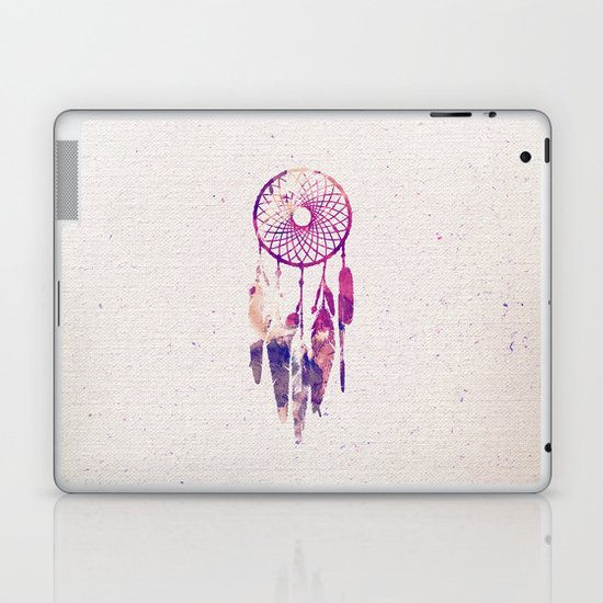 Girly Pink Purple Dream Catcher Watercolor Paint Laptop & iPad Skin