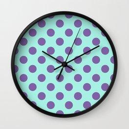 Large Polka Dots in Violet Purple on Aqua Wall Clock