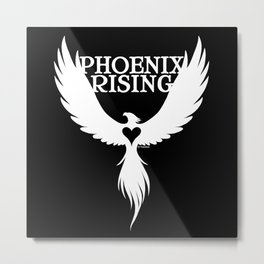 PHOENIX RISING white with heart center Metal Print