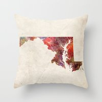 maryland Throw Pillows featuring Maryland by MapMapMaps.Watercolors