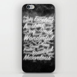 Grey positive word cloud by Brian Vegas iPhone Skin