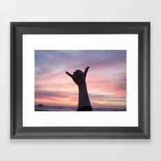 Stoked at sunset Framed Art Print
