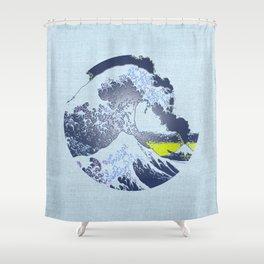 Great Wave Off Kanagawa Eruption Shower Curtain