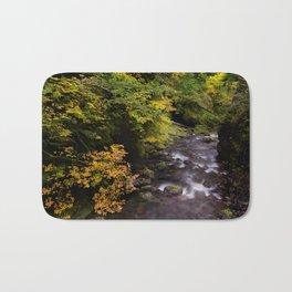 Columbia River Gorge Region, Oregon River Color Photo Footbridge River in an Oregon Forest Bath Mat
