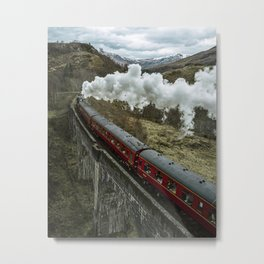 Red Wizard Steam Train In The Scottish Highlands – Landscape Photography Metal Print
