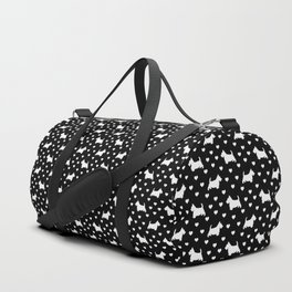 White Scottish Terriers (Scottie Dogs) & Hearts on Black Background Duffle Bag