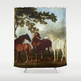 Classical Masterpiece Circa 1762 Mares and Foals in a River Landscape by George Stubbs Shower Curtain