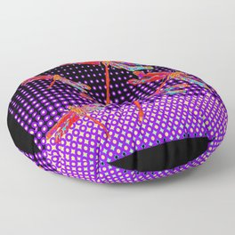 Flight of Red Dragonflies in a Black-purple Optic Art Pattern Floor Pillow