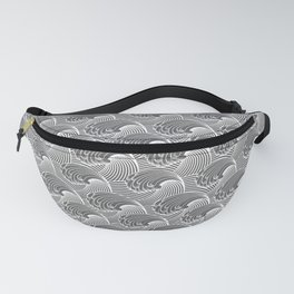 Vintage Japanese Waves, Gray / Grey and White Fanny Pack