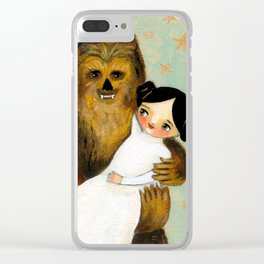 Princess Leia and Chewbacca painting by tascha parkinson Clear iPhone Case