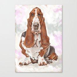 Caricature portrait of a basset hound Canvas Print
