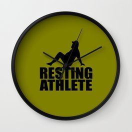 resting athlete funny quote Wall Clock