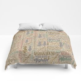 Afghan Hound silhouette and word art pattern Comforters