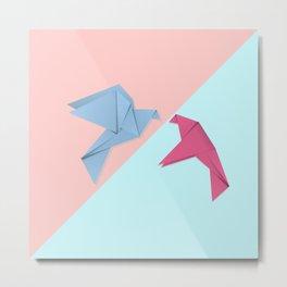 Paper pigeons blue and pink Metal Print