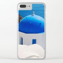 Santorini Orthodox Greek Church Clear iPhone Case