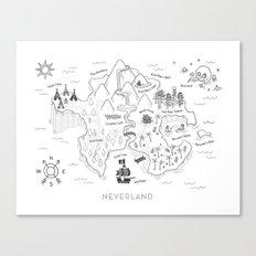 Neverland Map B&W Canvas Print