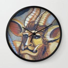 Medieval Demon. MMXIII. Milk Paint on Panel Wall Clock
