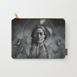 Black and white portrait-Sitting bull Carry-All Pouch
