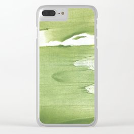 Green khaki clouded wash drawing texture Clear iPhone Case