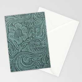 Sagey Teal Tooled Leather Stationery Cards