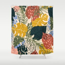 Tropical Leaf Pattern in Mustard, Red and Green Shower Curtain