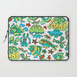 A pattern of fancy bizarre sea creatures. Style Doodle. Vector illustration. Laptop Sleeve