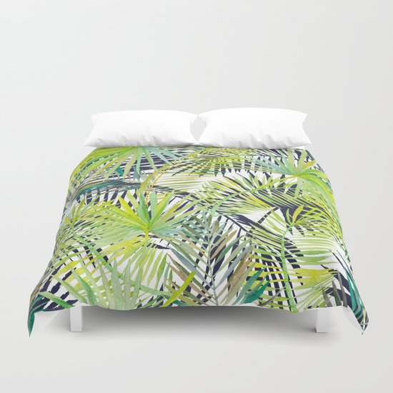 Tropical Frond Pattern Duvet Cover