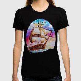 ship watercolor T-shirt