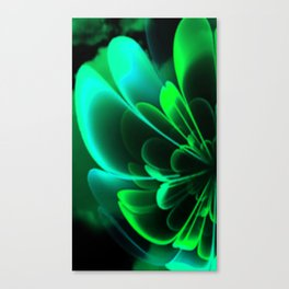 Stylized Half Flower Green Canvas Print