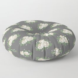 Antique White Roses Floor Pillow