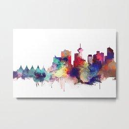 Vancouver Watercolor Skyline Metal Print