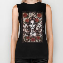 Blossoming Day of the Dead Biker Tank