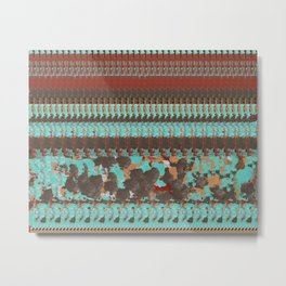 Deep Rust Red and Aqua Blue Country Design Metal Print